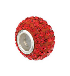 Kera™ Roundel Bead with Pavé Red Crystals