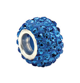 Kera™ Roundel Bead with Pave' Light Sapphire Crystals