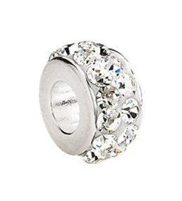 Kera™ Sterling Silver Roundel Bead with Pave' Crystals