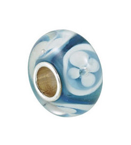 Kera™ Turquoise with White Flower Glass Bead