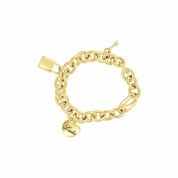 Key to My Heart Charm Personalized Bracelet in Gold-Tone
