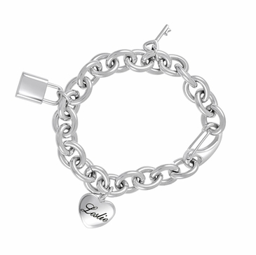 Key to My Heart Charm Personalized Bracelet in Stainless Steel