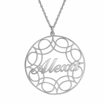 Lacy Round Name Pendant Necklace