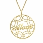 Lacy Round Name Pendant Necklace - click to Enlarge
