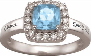 Large Cushion Cut Birthstone Gold Ring - with Simulated Stones