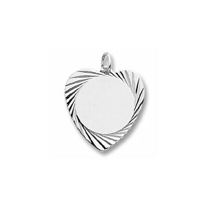 Large Heart Disc Charm with Diamond Cut Border by Forever Charms - Personalized