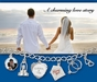 Large Key 4 Heart January Birthstone Charm by Forever Charms - click to Enlarge