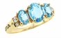 Large Oval Birthstone Triplet Gold Ring - with Simulated Stones - click to Enlarge