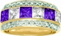 Large Princess Cut Birthstone Personalized Gold Band - with Genuine Stones - click to Enlarge