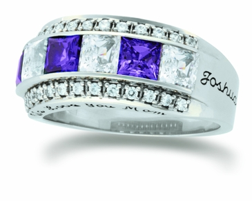 Large Princess Cut Birthstone Personalized Gold Band - with Simulated Stones