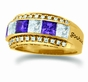 Large Princess Cut Birthstone Personalized Gold Band - with Simulated Stones - click to Enlarge