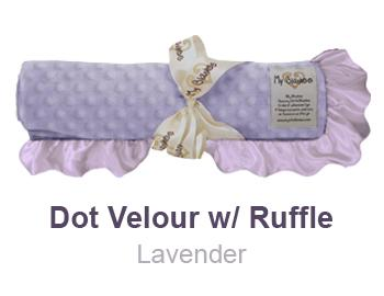 Lavender Dot Velour with Ruffle Trim Blanket by My Blankee