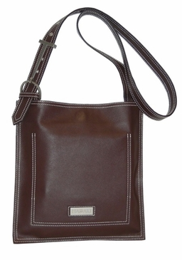 Leather Scoop Sling Chocolate Hadaki Handbag
