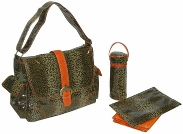 Leopard Orange - Laminated Buckle Diaper Bag by Kalencom