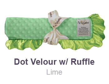 Lime Dot Velour with Ruffle Trim Blanket by My Blankee