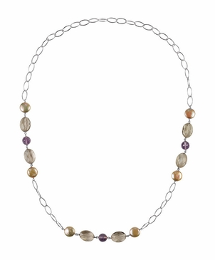 Linked Chain Pearl & Gemstone Necklace