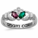 Love and Loyalty Birthstone and Diamond Claddagh Ring