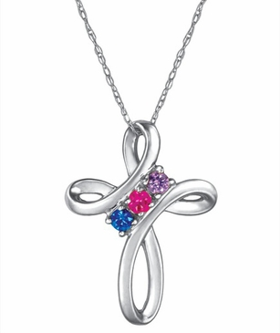 Love Knot Birthstone Necklace - with Simulated Stones