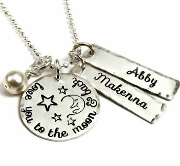 """""""I Love You To the Moon & Back"""" Necklace with Your Children's Names"""