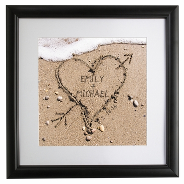 Lovers' Names in Sand Framed Picture