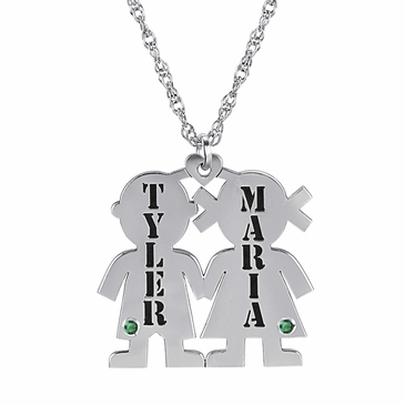Loving Couple May Birthstone Necklace - Personalized