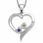 Loving Heart Family Pendant Necklace - with 2 Birthstones