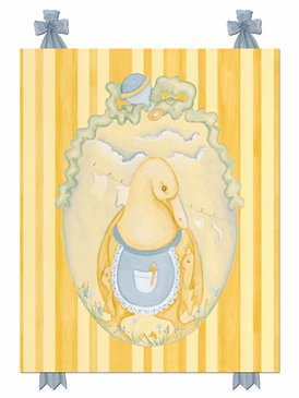 Mama Duck Pastel Blue Stretched Art Personalized by Dish and Spoon