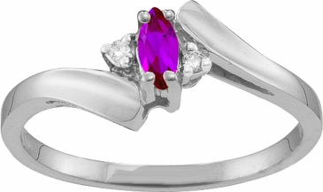 Marquise Birthstone and Diamond Journey Ring