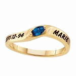 Marquise Solitaire 10k Gold Ring - Personalized
