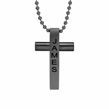 Men's Bar Cross Necklace - Personalized