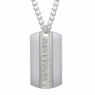 Men's Vertical Name Tag Necklace