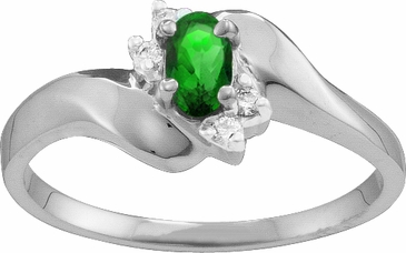 Modern Birthstone Bypass Ring with Diamonds