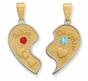 Mom and Daughter Heart Pendant with Silver Bezel - Daughter - click to Enlarge