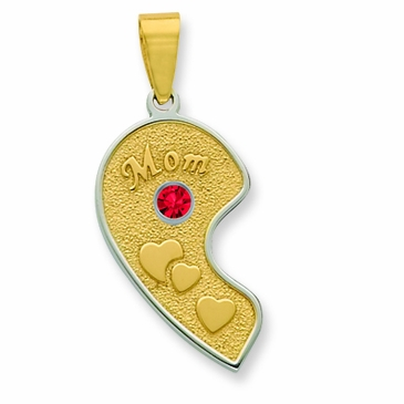 Mom and Daughter Heart Pendant with Silver Bezel - Mom