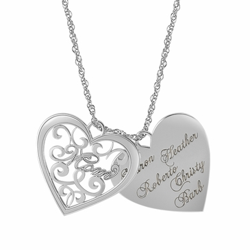Mom and Family Heart Charms Necklace