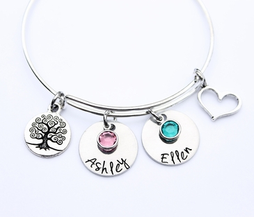 Mom Birthstone Bangle with Family Names
