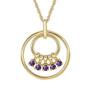Mom's February Birthstone Charm Circle Necklace