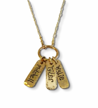 Mom's Gold Name Tag Necklace