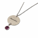 Mom's Hammered Birthstone & Charm Necklace - Personalized