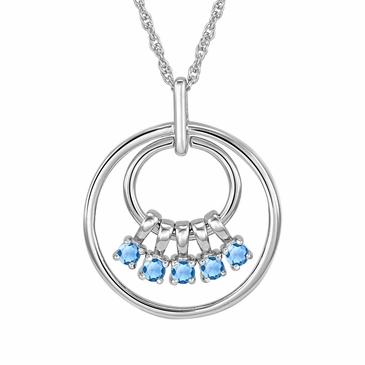 Mom's March Birthstone Charm Circle Necklace