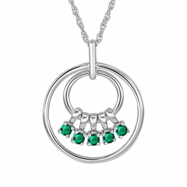 Mom's May Birthstone Charm Circle Necklace