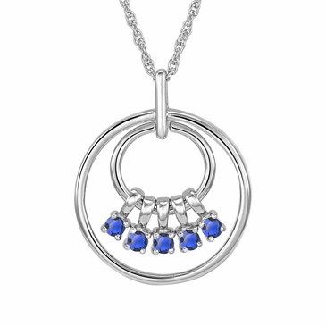 Mom's September Birthstone Charm Circle Necklace