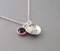 Monogrammed Curved Charm Necklace with Birthstone - click to Enlarge