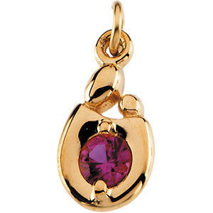 Mother and Child July Birthstone Charm