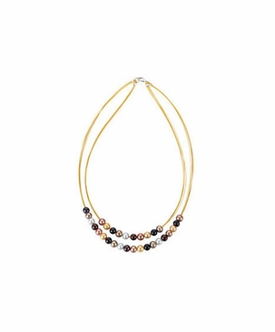 Multi-Color Pearl Necklace with Gold Finish