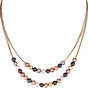 Multi-Color Pearl Necklace with Gold Finish - click to Enlarge