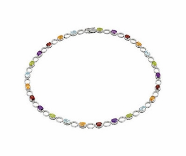 Multi-Color Sterling Silver Gemstone Necklace-18 Inch