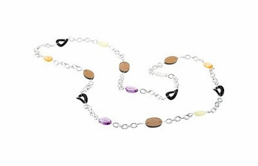 Multi-Color Sterling Silver Necklace with Gemstones