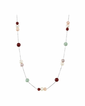 Multi colored necklace with pearl jade & agates