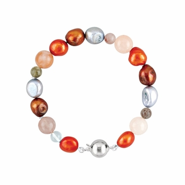Multi-Gemstone Decorated Bracelet/Necklace - Sterling Silver